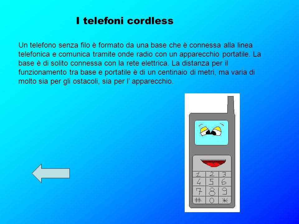 I telefoni cordless Un telefono senza filo è formato da una base che è connessa alla linea telefonica e comunica tramite onde radio con un apparecchio