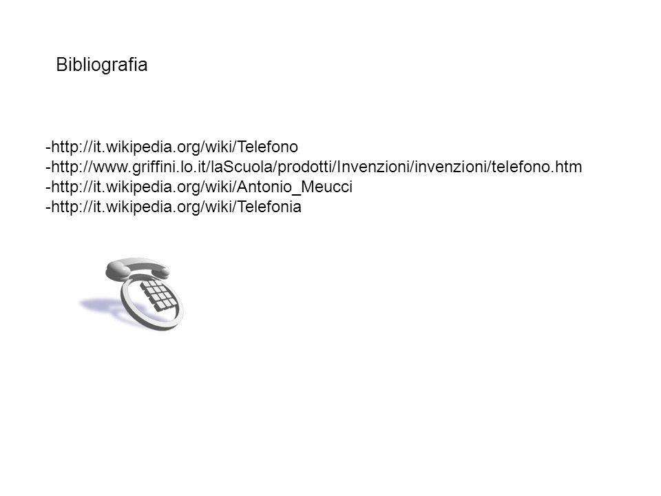 Bibliografia -http://it.wikipedia.org/wiki/Telefono -http://www.griffini.lo.it/laScuola/prodotti/Invenzioni/invenzioni/telefono.htm -http://it.wikiped