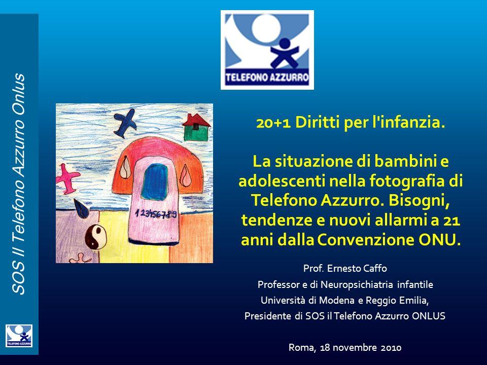 SOS Il Telefono Azzurro Onlus Prof. Ernesto Caffo Professor e di Neuropsichiatria infantile Università di Modena e Reggio Emilia, Presidente di SOS il