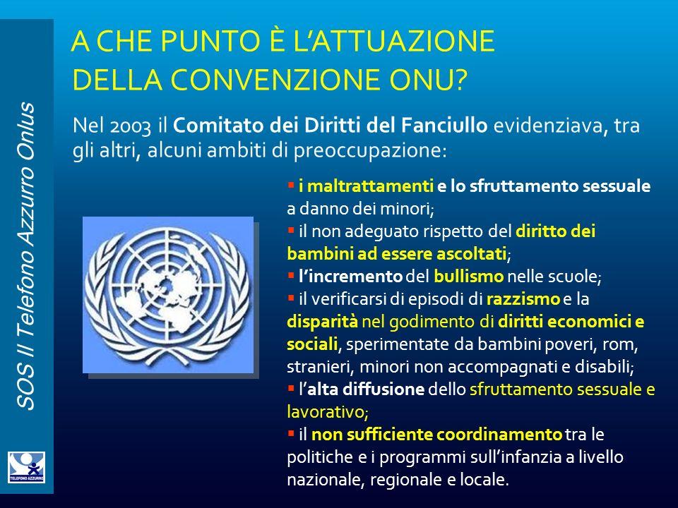 SOS Il Telefono Azzurro Onlus A CHE PUNTO È LATTUAZIONE DELLA CONVENZIONE ONU? Nel 2003 il Comitato dei Diritti del Fanciullo evidenziava, tra gli alt
