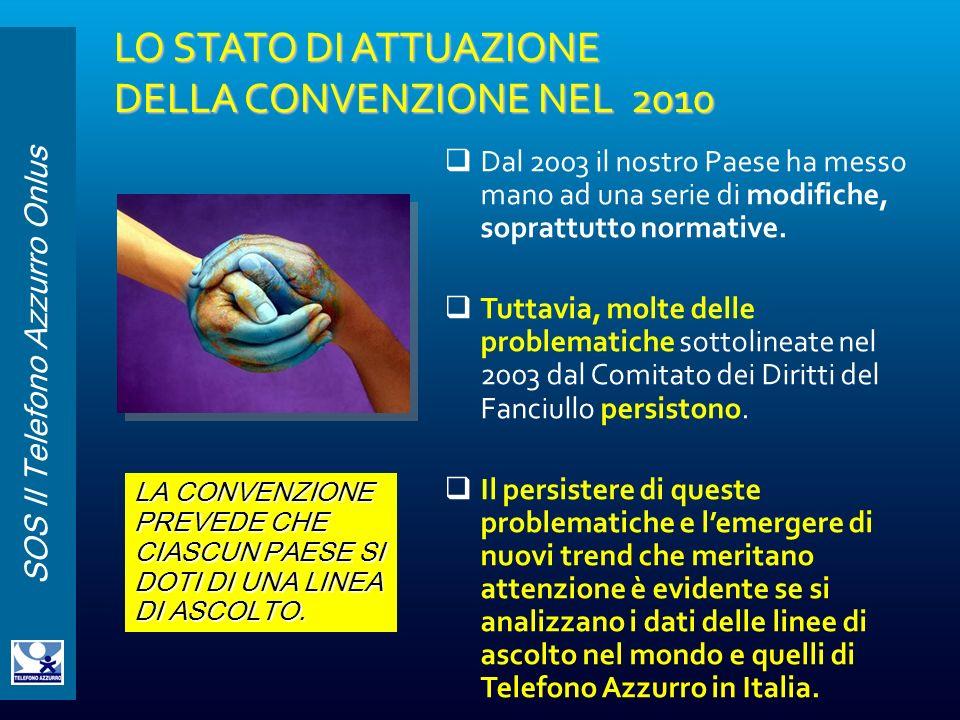 SOS Il Telefono Azzurro Onlus LO STATO DI ATTUAZIONE DELLA CONVENZIONE NEL 2010 Dal 2003 il nostro Paese ha messo mano ad una serie di modifiche, sopr