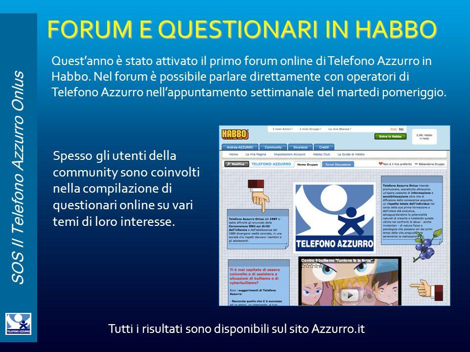 SOS Il Telefono Azzurro Onlus FORUM E QUESTIONARI IN HABBO Questanno è stato attivato il primo forum online di Telefono Azzurro in Habbo. Nel forum è