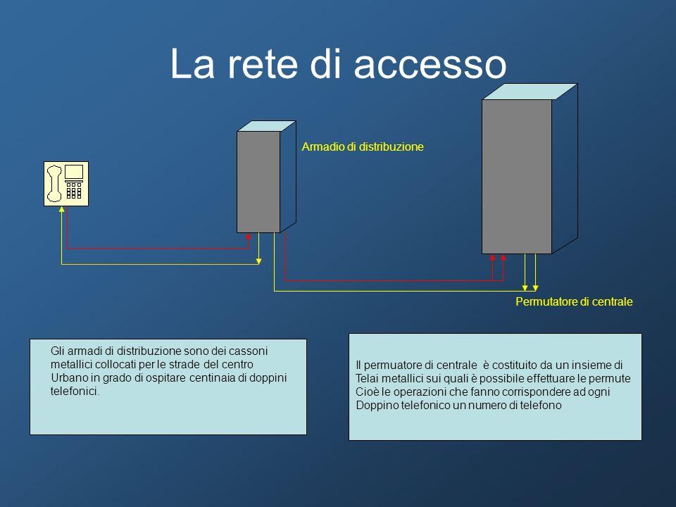 La rete di accesso Armadio di distribuzione Permutatore di centrale Gli armadi di distribuzione sono dei cassoni metallici collocati per le strade del