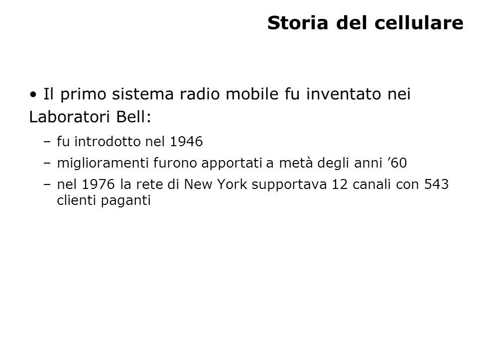 Storia del cellulare Il primo sistema radio mobile fu inventato nei Laboratori Bell: –fu introdotto nel 1946 –miglioramenti furono apportati a metà degli anni 60 –nel 1976 la rete di New York supportava 12 canali con 543 clienti paganti