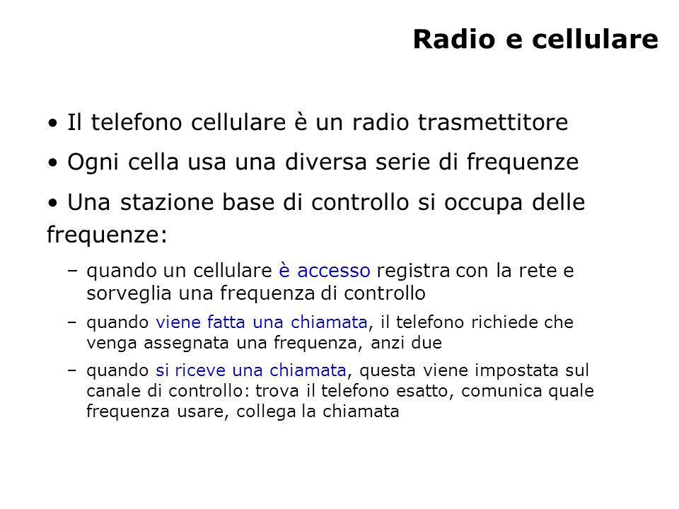 Radio e cellulare Il telefono cellulare è un radio trasmettitore Ogni cella usa una diversa serie di frequenze Una stazione base di controllo si occupa delle frequenze: –quando un cellulare è accesso registra con la rete e sorveglia una frequenza di controllo –quando viene fatta una chiamata, il telefono richiede che venga assegnata una frequenza, anzi due –quando si riceve una chiamata, questa viene impostata sul canale di controllo: trova il telefono esatto, comunica quale frequenza usare, collega la chiamata