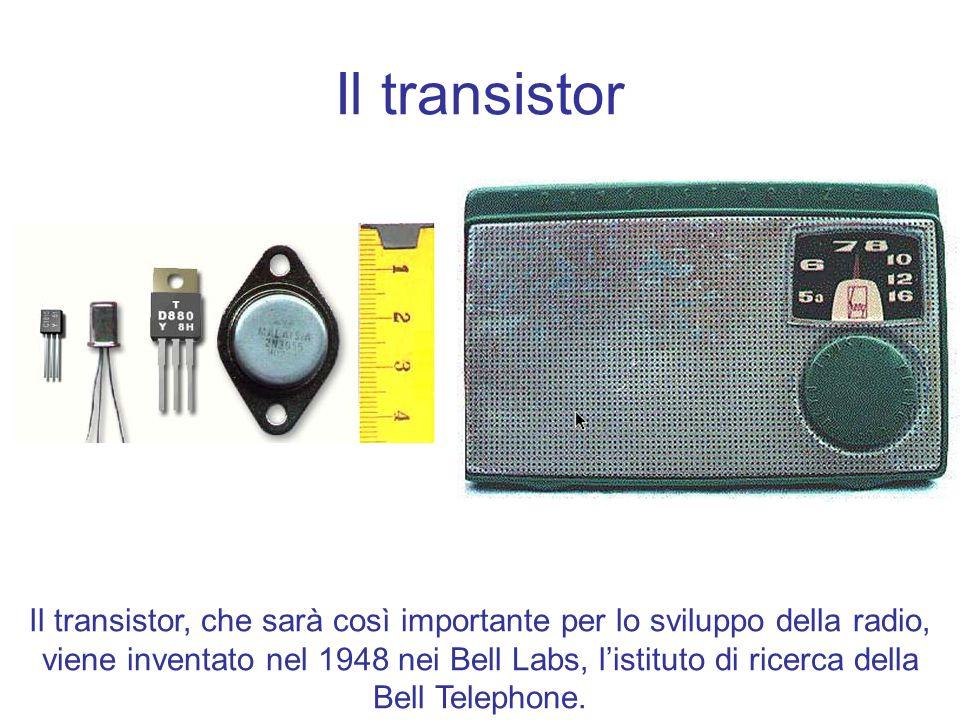 Il transistor Il transistor, che sarà così importante per lo sviluppo della radio, viene inventato nel 1948 nei Bell Labs, listituto di ricerca della