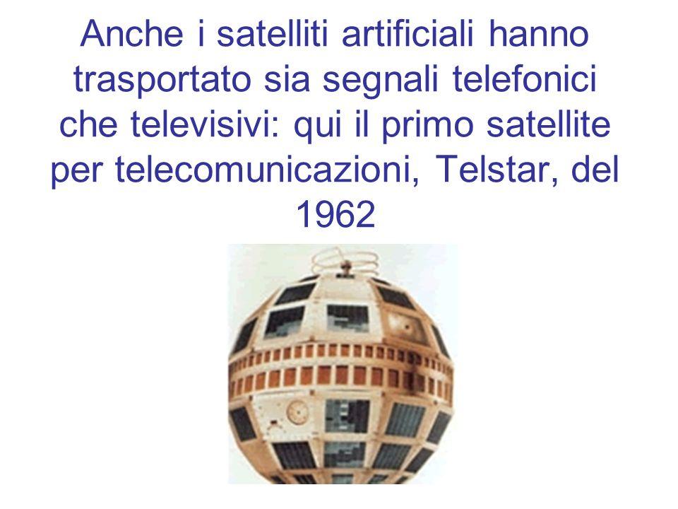 Anche i satelliti artificiali hanno trasportato sia segnali telefonici che televisivi: qui il primo satellite per telecomunicazioni, Telstar, del 1962
