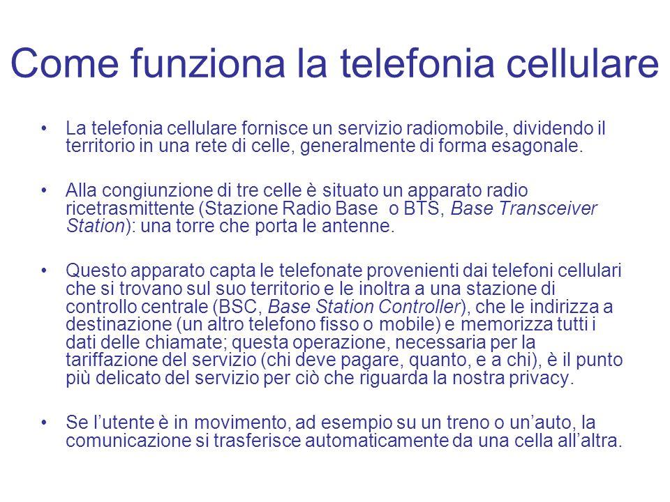 Come funziona la telefonia cellulare La telefonia cellulare fornisce un servizio radiomobile, dividendo il territorio in una rete di celle, generalmen