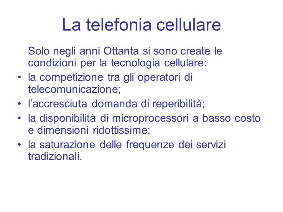 La telefonia cellulare Solo negli anni Ottanta si sono create le condizioni per la tecnologia cellulare: la competizione tra gli operatori di telecomu