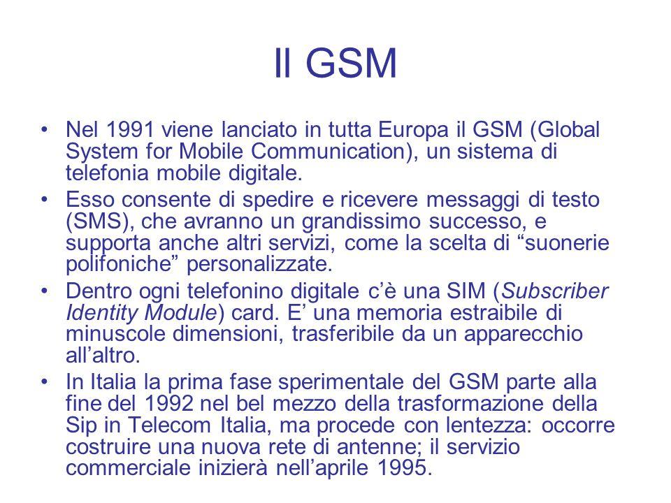 Il GSM Nel 1991 viene lanciato in tutta Europa il GSM (Global System for Mobile Communication), un sistema di telefonia mobile digitale. Esso consente