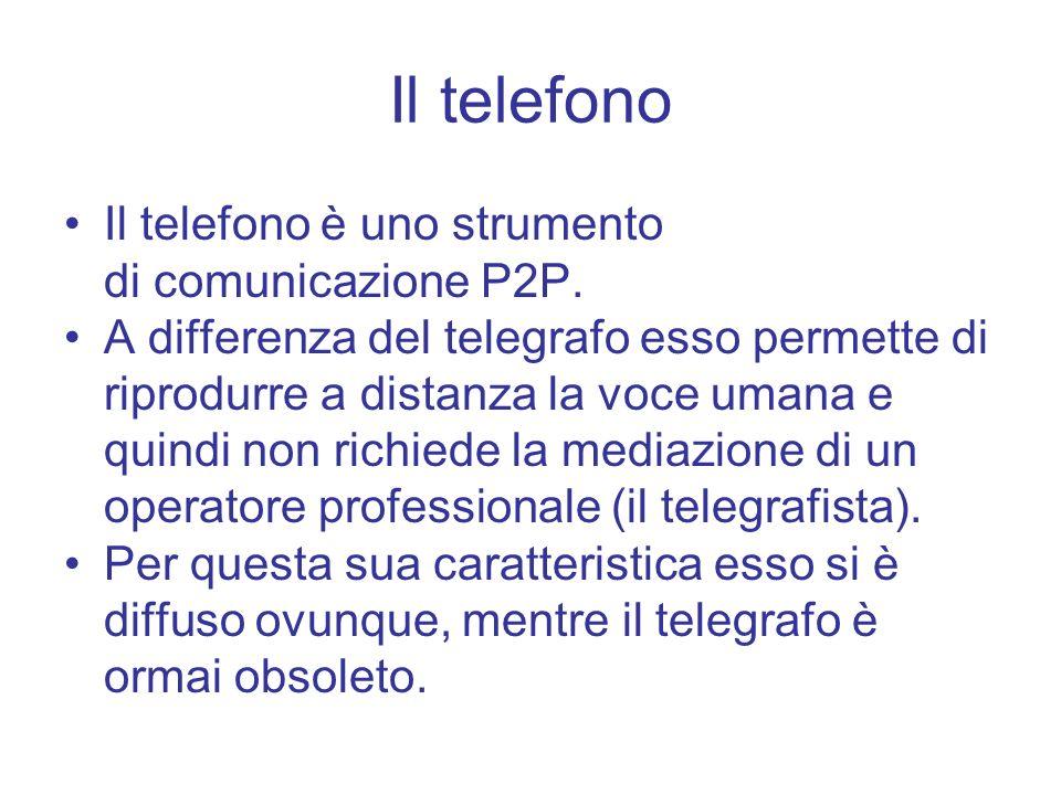 Il telefono è uno strumento di comunicazione P2P. A differenza del telegrafo esso permette di riprodurre a distanza la voce umana e quindi non richied