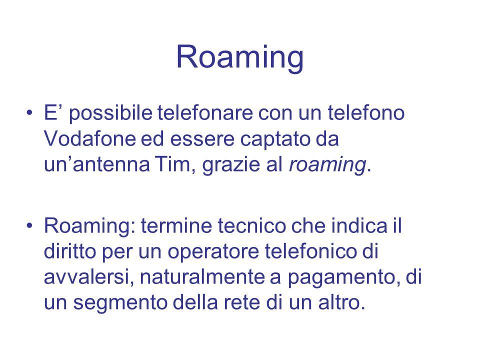 Roaming E possibile telefonare con un telefono Vodafone ed essere captato da unantenna Tim, grazie al roaming. Roaming: termine tecnico che indica il
