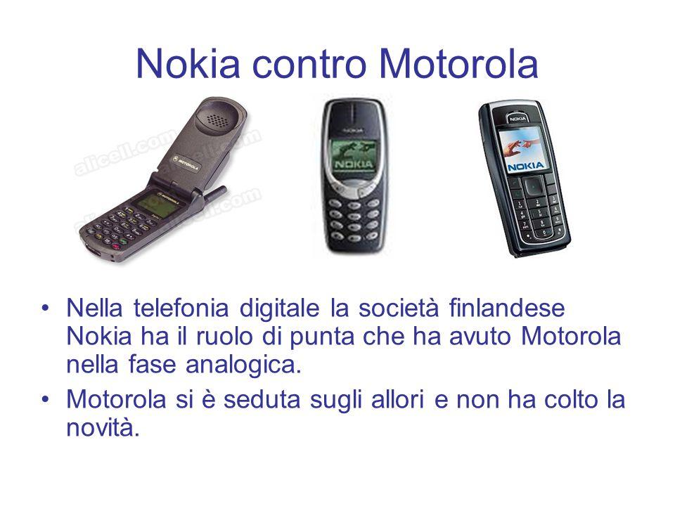 Nokia contro Motorola Nella telefonia digitale la società finlandese Nokia ha il ruolo di punta che ha avuto Motorola nella fase analogica. Motorola s