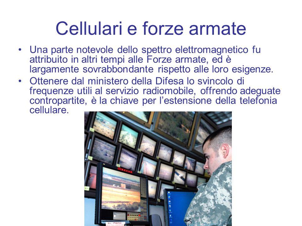 Cellulari e forze armate Una parte notevole dello spettro elettromagnetico fu attribuito in altri tempi alle Forze armate, ed è largamente sovrabbonda