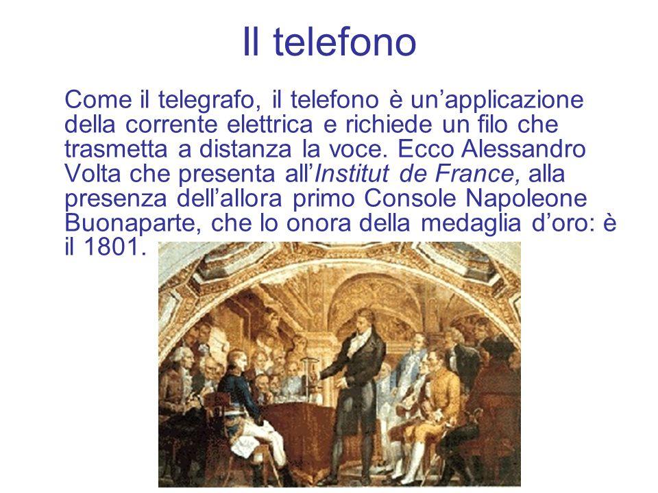 Il telefono Come il telegrafo, il telefono è unapplicazione della corrente elettrica e richiede un filo che trasmetta a distanza la voce. Ecco Alessan