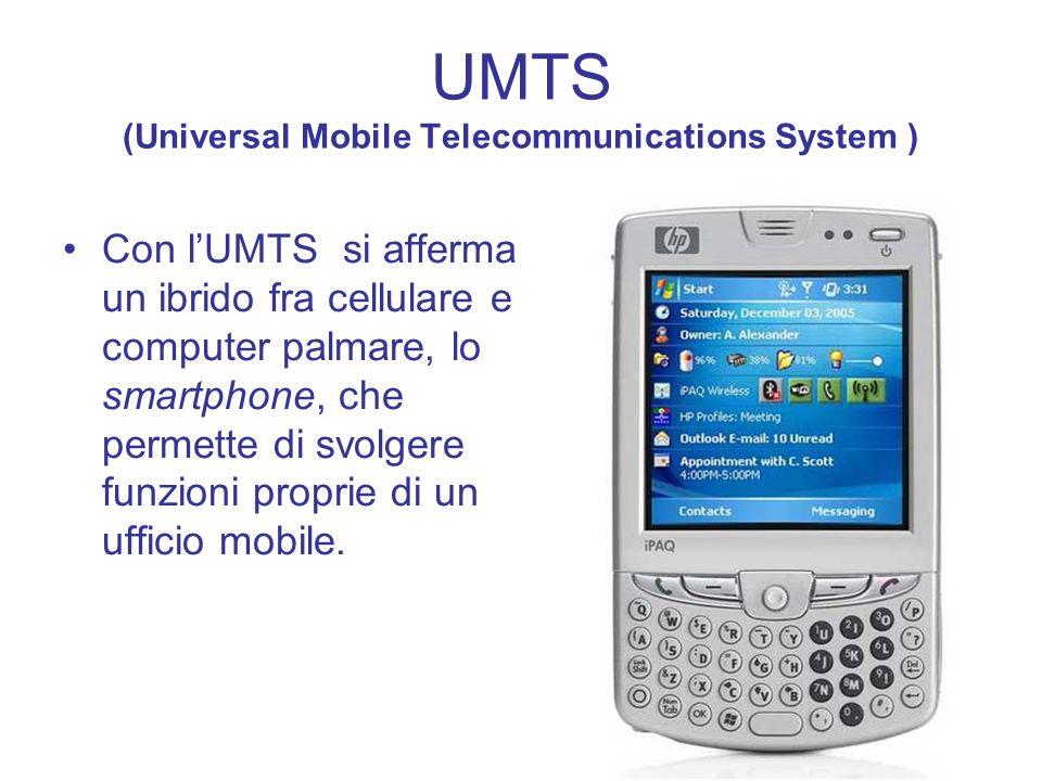UMTS (Universal Mobile Telecommunications System ) Con lUMTS si afferma un ibrido fra cellulare e computer palmare, lo smartphone, che permette di svo