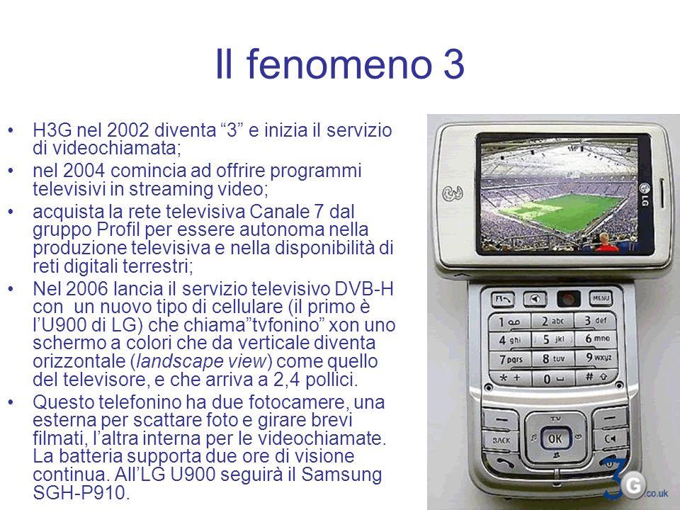 Il fenomeno 3 H3G nel 2002 diventa 3 e inizia il servizio di videochiamata; nel 2004 comincia ad offrire programmi televisivi in streaming video; acqu