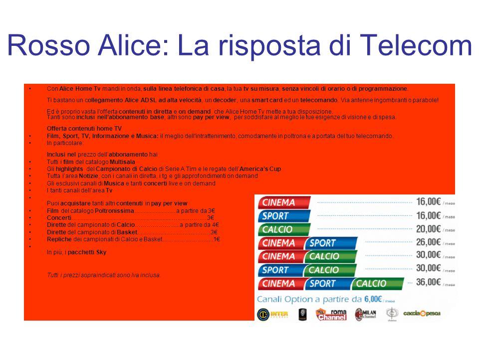 Rosso Alice: La risposta di Telecom Con Alice Home Tv mandi in onda, sulla linea telefonica di casa, la tua tv su misura, senza vincoli di orario o di