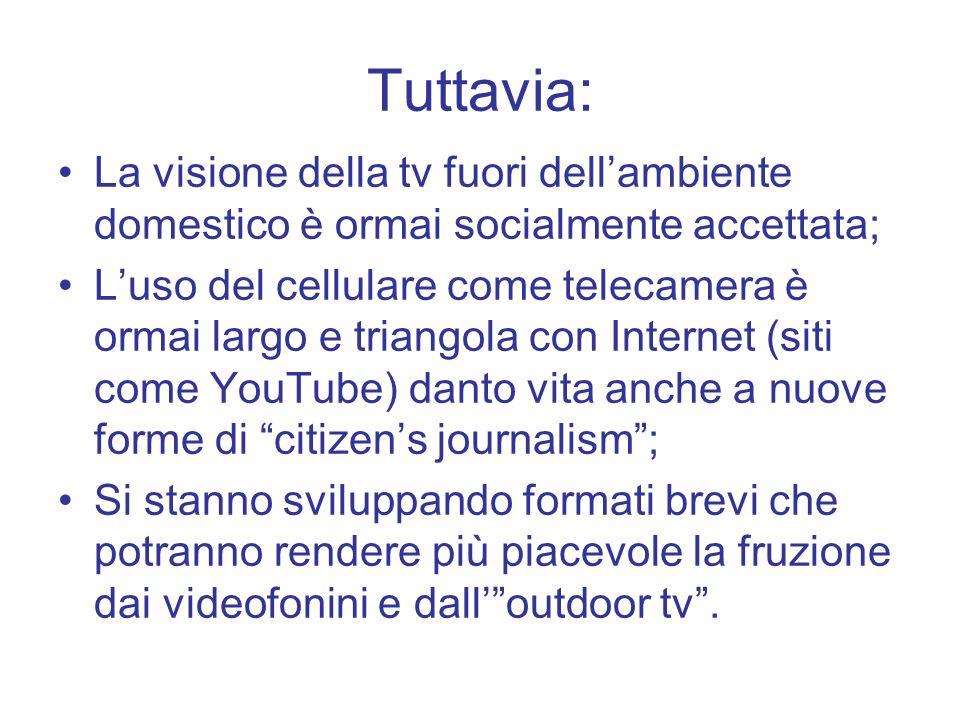 Tuttavia: La visione della tv fuori dellambiente domestico è ormai socialmente accettata; Luso del cellulare come telecamera è ormai largo e triangola