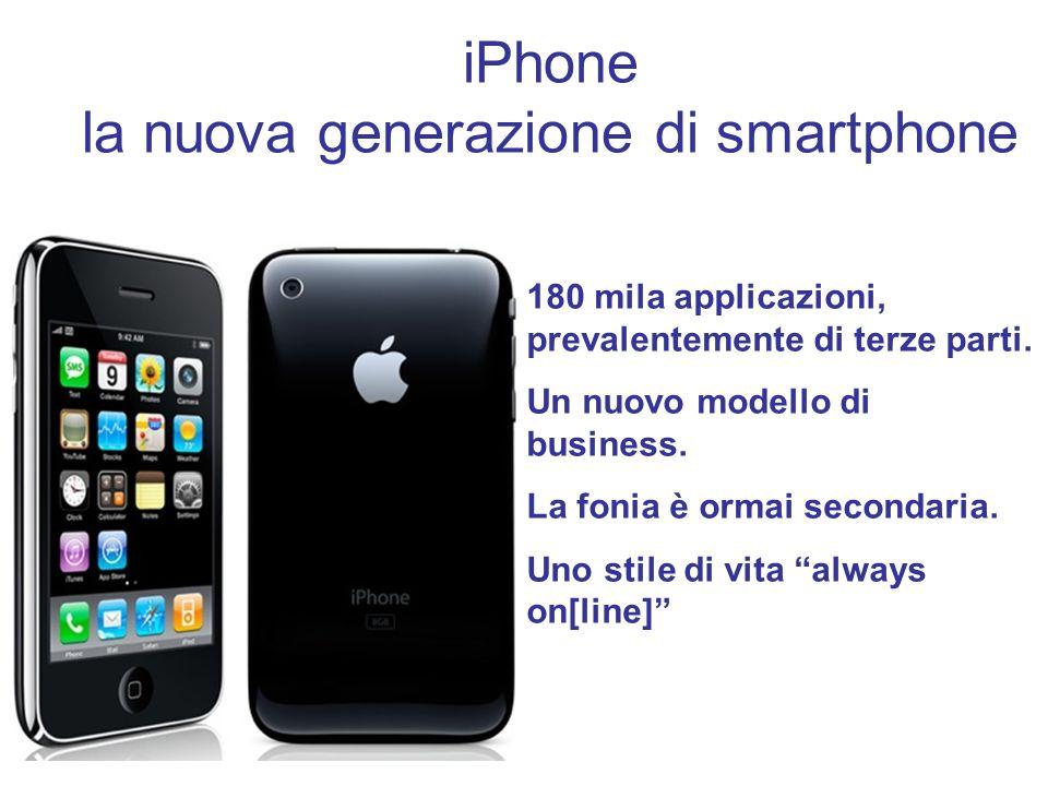iPhone la nuova generazione di smartphone 180 mila applicazioni, prevalentemente di terze parti. Un nuovo modello di business. La fonia è ormai second