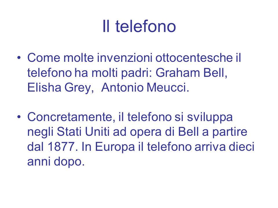 Il telefono Come molte invenzioni ottocentesche il telefono ha molti padri: Graham Bell, Elisha Grey, Antonio Meucci. Concretamente, il telefono si sv