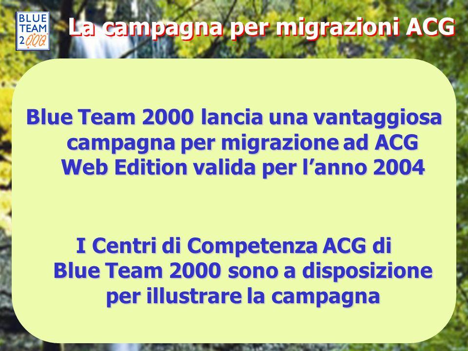La campagna per migrazioni ACG Blue Team 2000 lancia una vantaggiosa campagna per migrazione ad ACG Web Edition valida per lanno 2004 I Centri di Comp
