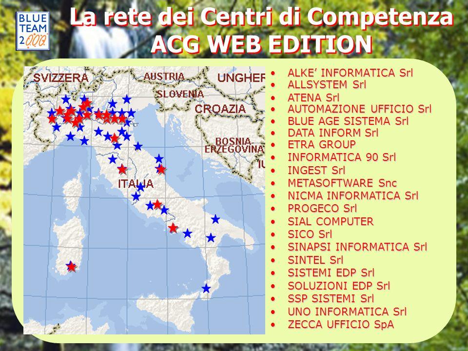 La rete dei Centri di Competenza ACG WEB EDITION ALKE INFORMATICA SrlALKE INFORMATICA Srl ALLSYSTEM SrlALLSYSTEM Srl AUTOMAZIONE UFFICIO SrlAUTOMAZION