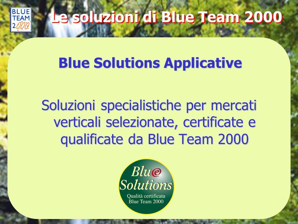 Le soluzioni di Blue Team 2000 Soluzioni specialistiche per mercati verticali selezionate, certificate e qualificate da Blue Team 2000 Blue Solutions