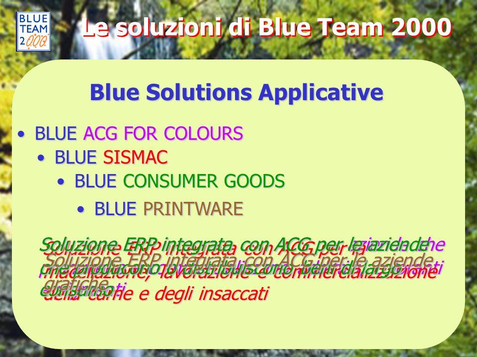Le soluzioni di Blue Team 2000 Blue Solutions Applicative BLUE ACG FOR COLOURSBLUE ACG FOR COLOURS Soluzione ERP integrata con ACG per aziende che pro