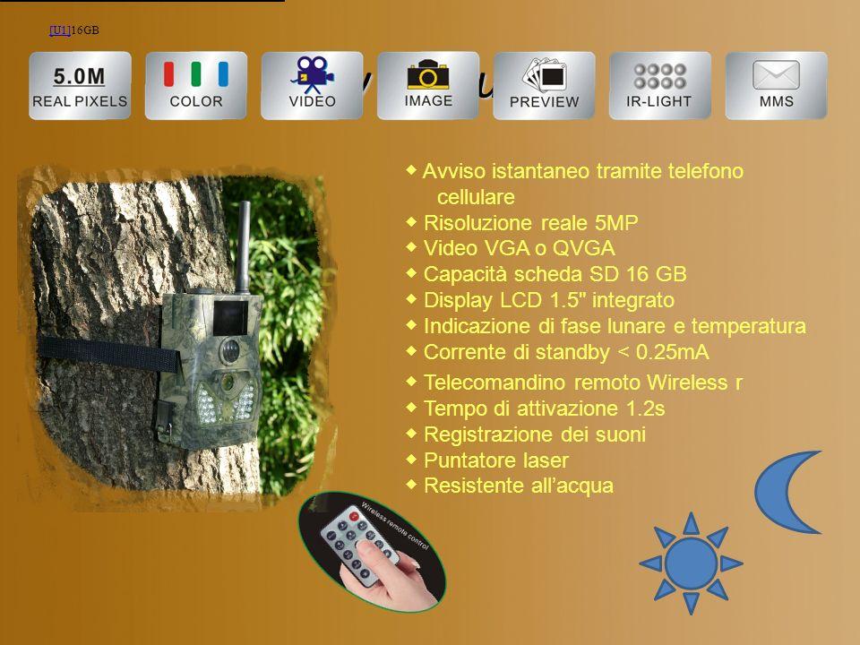 Key Features Avviso istantaneo tramite telefono cellulare Risoluzione reale 5MP Video VGA o QVGA Capacità scheda SD 16 GB Display LCD 1.5