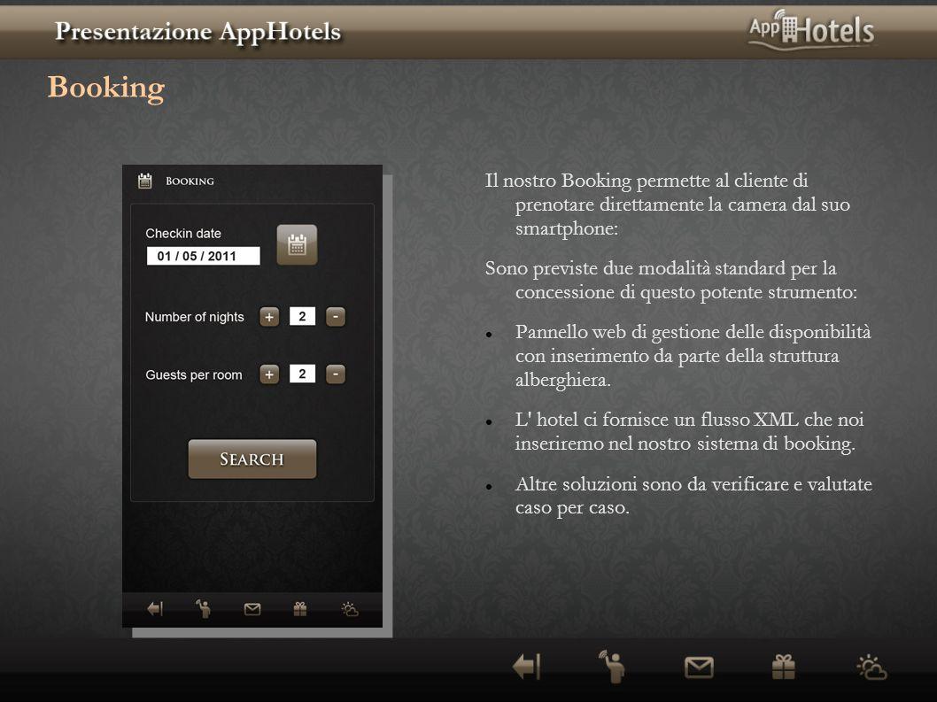 Booking Il nostro Booking permette al cliente di prenotare direttamente la camera dal suo smartphone: Sono previste due modalità standard per la conce