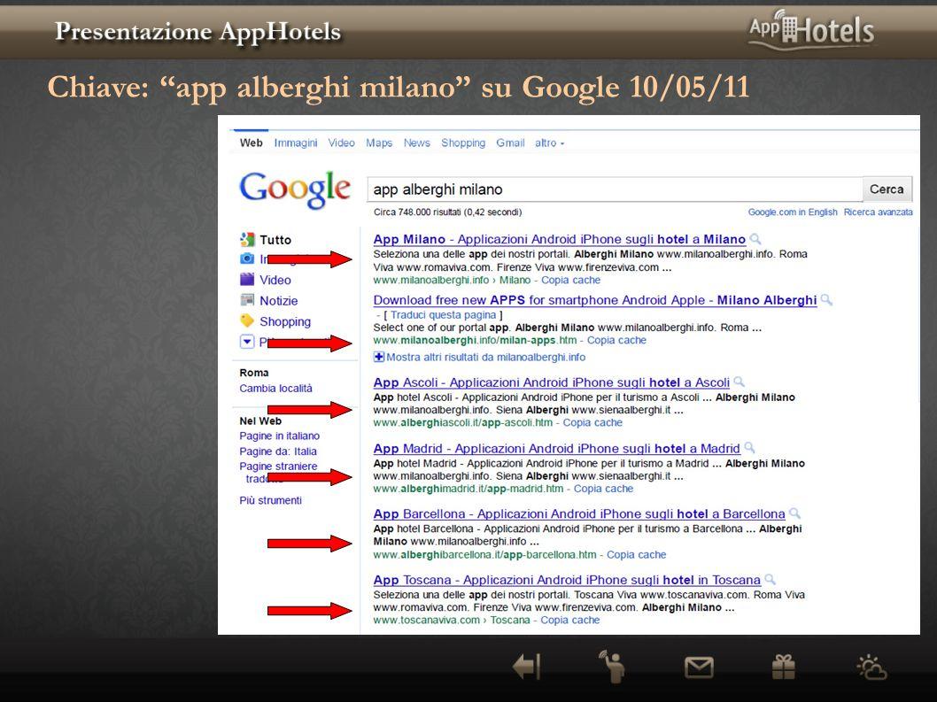 Chiave: app alberghi milano su Google 10/05/11