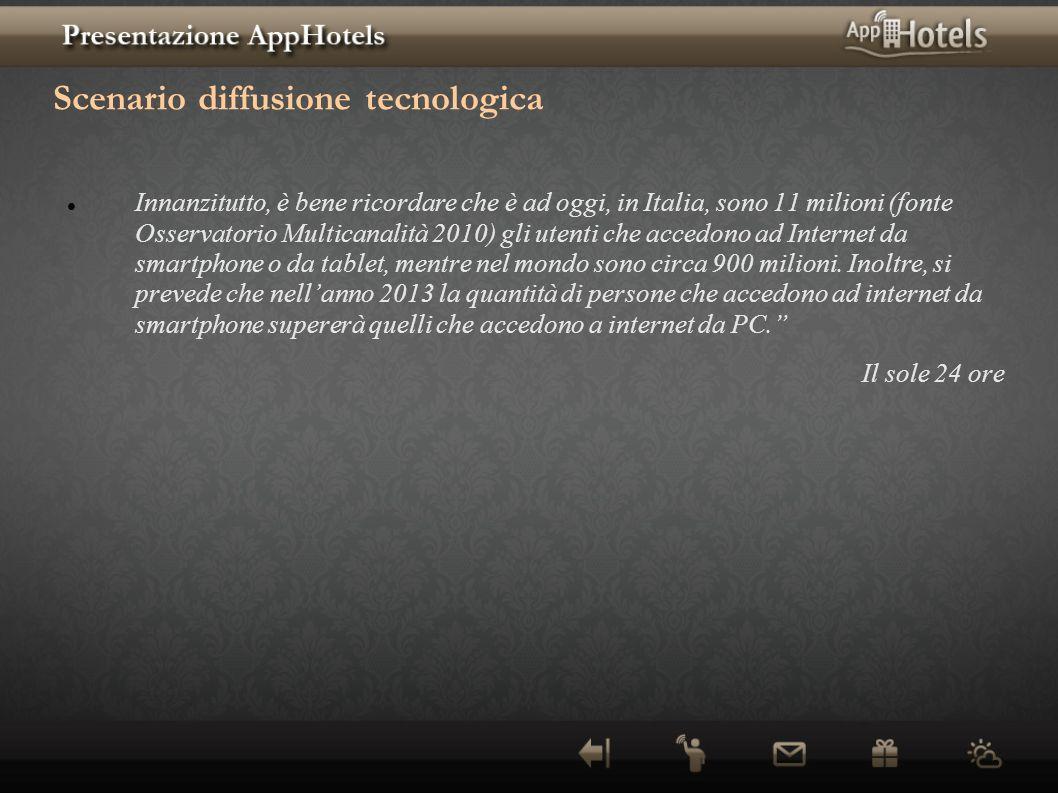 Scenario diffusione tecnologica Innanzitutto, è bene ricordare che è ad oggi, in Italia, sono 11 milioni (fonte Osservatorio Multicanalità 2010) gli u