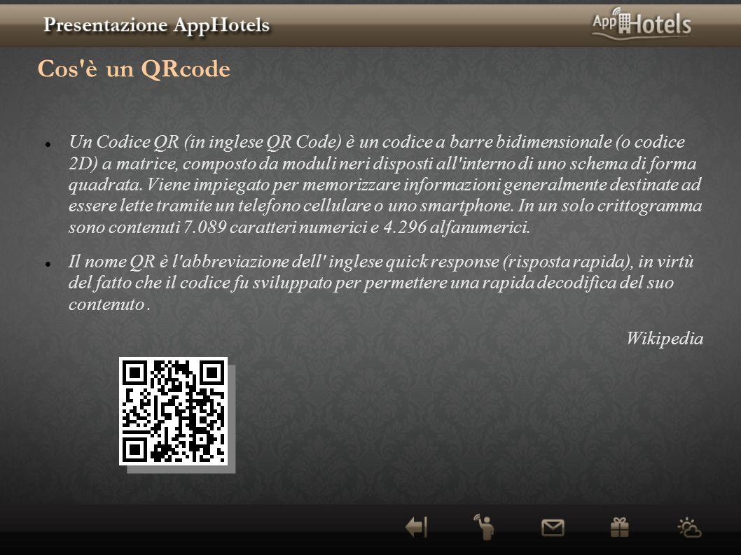 Cos'è un QRcode Un Codice QR (in inglese QR Code) è un codice a barre bidimensionale (o codice 2D) a matrice, composto da moduli neri disposti all'int