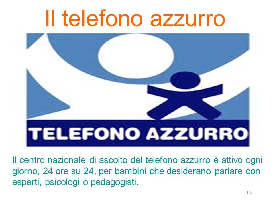 Il telefono azzurro Il centro nazionale di ascolto del telefono azzurro è attivo ogni giorno, 24 ore su 24, per bambini che desiderano parlare con esp