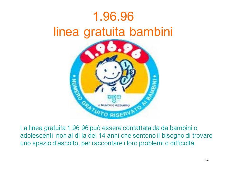 1.96.96 linea gratuita bambini La linea gratuita 1.96.96 può essere contattata da da bambini o adolescenti non al di la dei 14 anni che sentono il bis