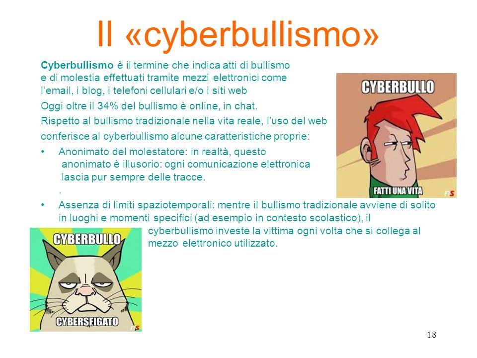 Il «cyberbullismo» Cyberbullismo è il termine che indica atti di bullismo e di molestia effettuati tramite mezzi elettronici come lemail, i blog, i te