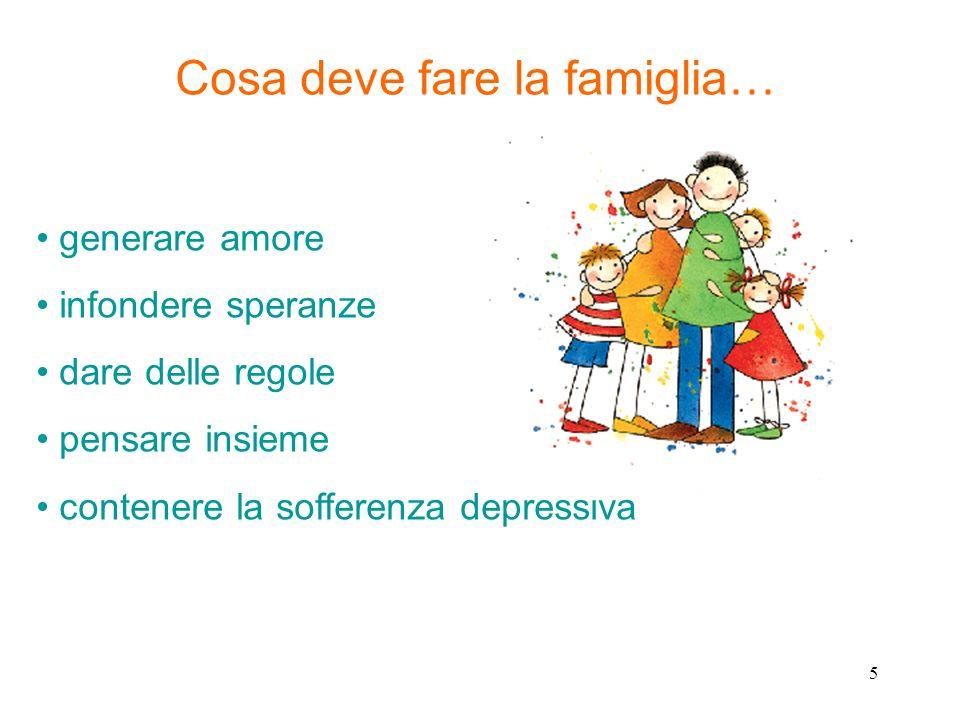 Cosa deve fare la famiglia… generare amore infondere speranze dare delle regole pensare insieme contenere la sofferenza depressiva 5