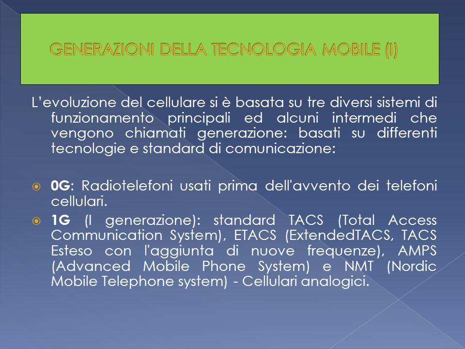 Levoluzione del cellulare si è basata su tre diversi sistemi di funzionamento principali ed alcuni intermedi che vengono chiamati generazione: basati