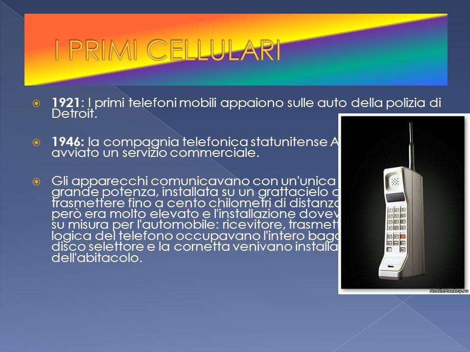 1921 : I primi telefoni mobili appaiono sulle auto della polizia di Detroit. 1946: la compagnia telefonica statunitense AT&T aveva avviato un servizio