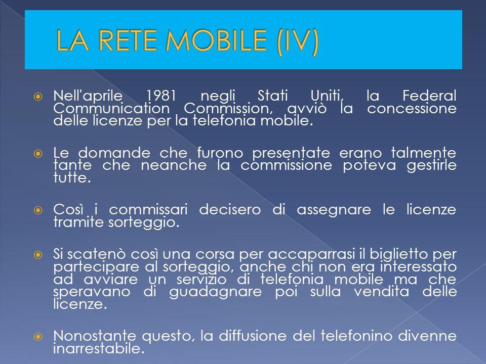 Nell'aprile 1981 negli Stati Uniti, la Federal Communication Commission, avviò la concessione delle licenze per la telefonia mobile. Le domande che fu