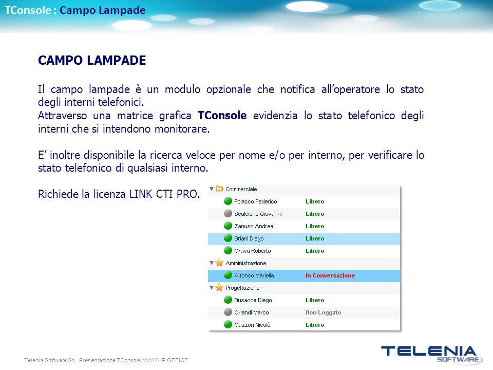 Telenia Software Srl - Presentazione TConsole AVAYA IP OFFICE CAMPO LAMPADE Il campo lampade è un modulo opzionale che notifica alloperatore lo stato degli interni telefonici.