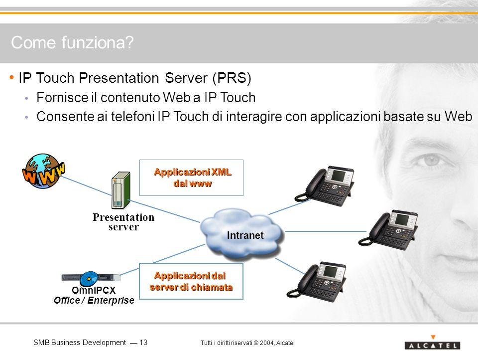 SMB Business Development 13 Tutti i diritti riservati © 2004, Alcatel IP Touch Presentation Server (PRS) Fornisce il contenuto Web a IP Touch Consente
