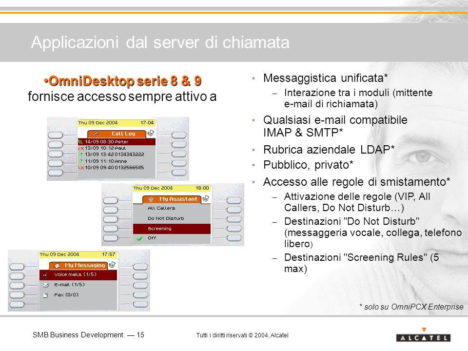 SMB Business Development 15 Tutti i diritti riservati © 2004, Alcatel Applicazioni dal server di chiamata Messaggistica unificata* – Interazione tra i