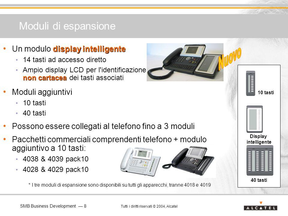 SMB Business Development 8 Tutti i diritti riservati © 2004, Alcatel Moduli di espansione 10 tasti 40 tasti Display intelligente display intelligente
