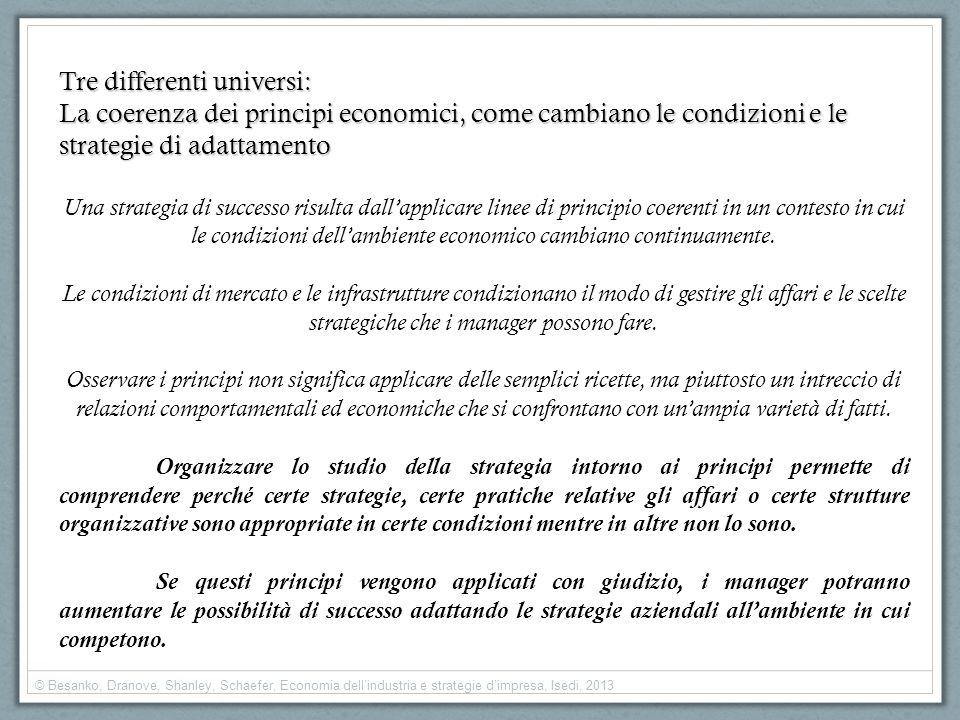 Tre differenti universi: La coerenza dei principi economici, come cambiano le condizioni e le strategie di adattamento Una strategia di successo risul