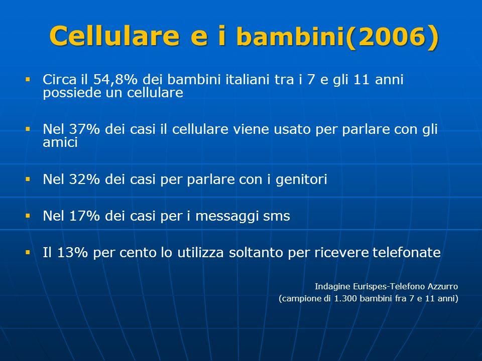 Cellulare e i bambini(2006 ) Circa il 54,8% dei bambini italiani tra i 7 e gli 11 anni possiede un cellulare Nel 37% dei casi il cellulare viene usato