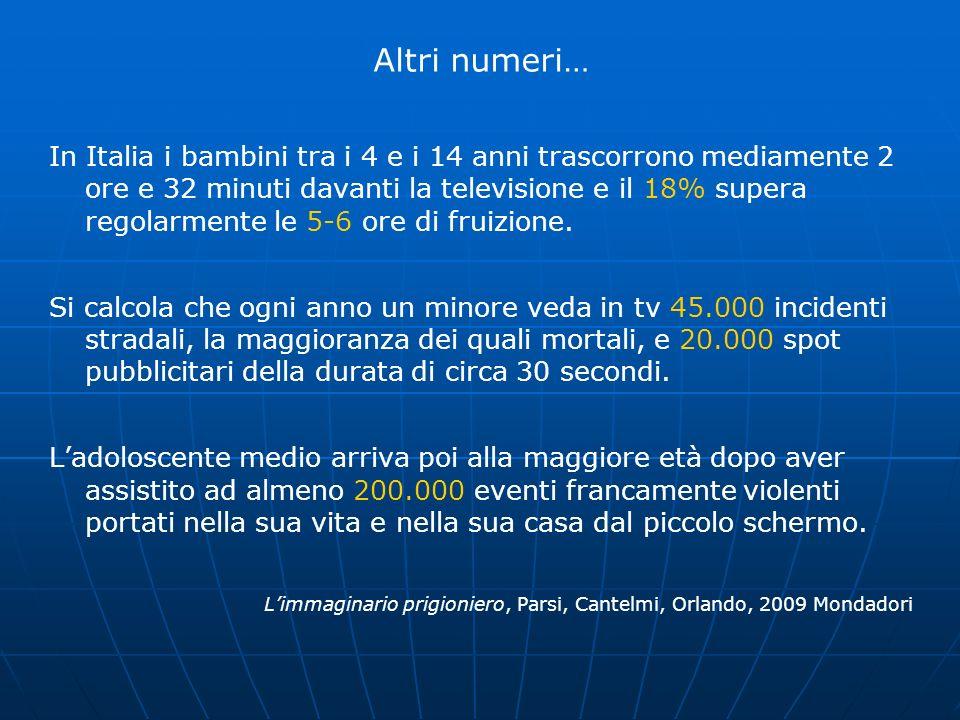 Altri numeri… In Italia i bambini tra i 4 e i 14 anni trascorrono mediamente 2 ore e 32 minuti davanti la televisione e il 18% supera regolarmente le
