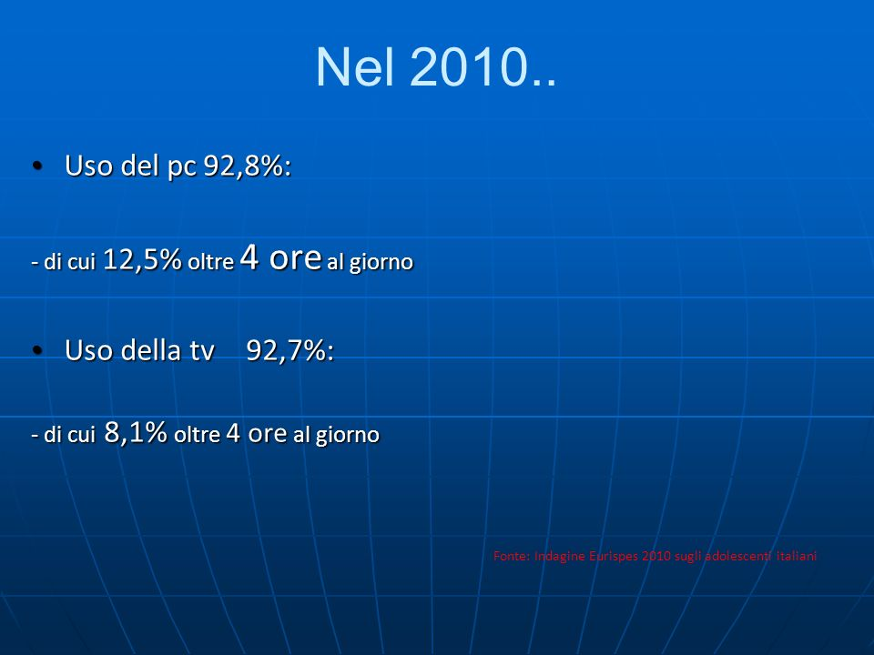 Nel 2010.. Uso del pc92,8%: Uso del pc92,8%: - di cui 12,5% oltre 4 ore al giorno Uso della tv92,7%: Uso della tv92,7%: - di cui 8,1% oltre 4 ore al g