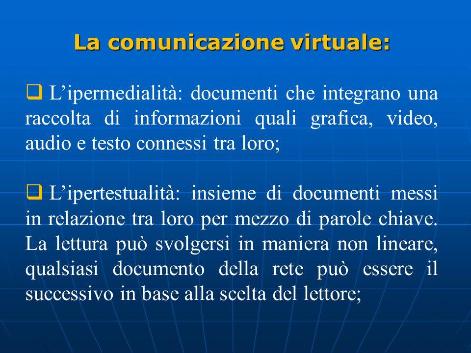 La comunicazione virtuale: Lipermedialità: documenti che integrano una raccolta di informazioni quali grafica, video, audio e testo connessi tra loro;
